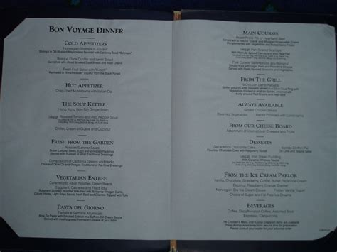 On the Seas - NCL Dawn 2005 - Menus and NCL Freestyle Dailys