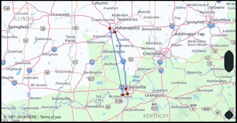 What is the drive distance from Indianapolis Indiana