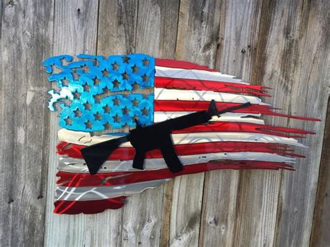 Tattered American Flag With Second Layer AR15 Rifle
