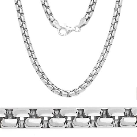 ITALY Made 925 Sterling Silver Mens Round Box Heavy Chain