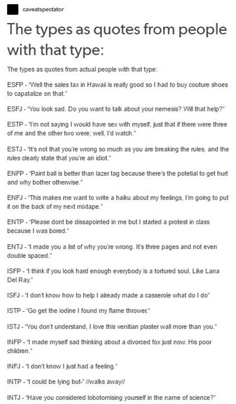 MBTI as quotes by their types