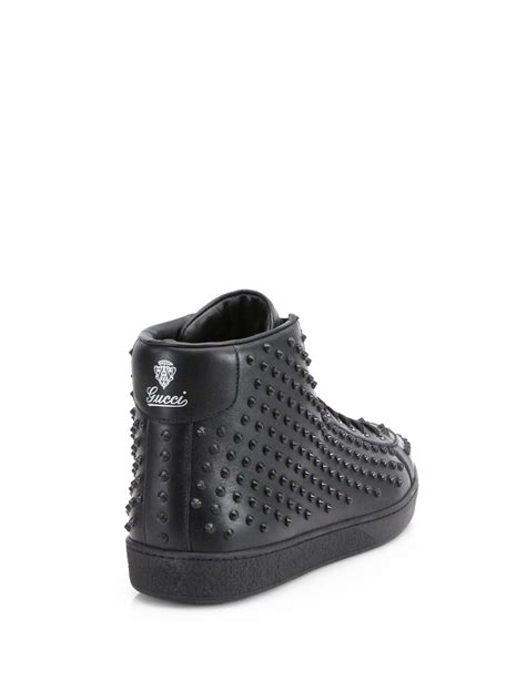 Lyst - Gucci Brooklyn Studded Hightop Sneakers in Black