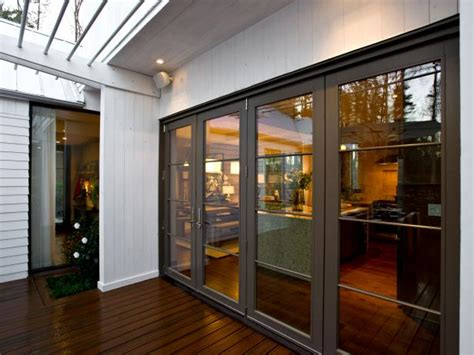 Contemporary Deck with Brown Glass French Doors   HGTV